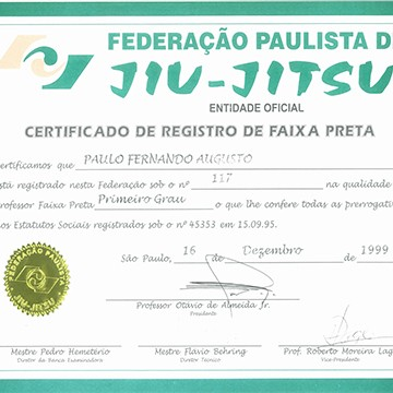 1st Degree Black Belt Certification by FPJJ