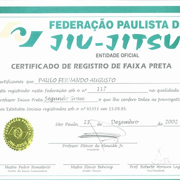 2nd Degree Black Belt Certification by FPJJ