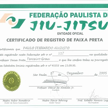 3rd Degree Black Belt Certification by FBJJ