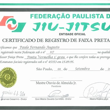 5th Degree Black Belt Certification by FPJJ