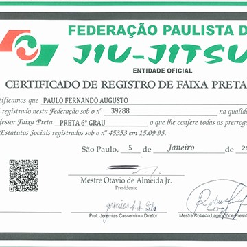 6th Degree Black Belt Certification by FPJJ