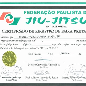 4th Degree Black Belt Certification by FBJJ